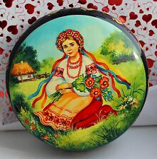 Ukrainian Women Kiev Hand-painted Trinket Box for jewelry Wooden Souvenir Wreath