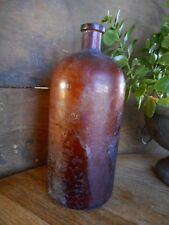 Large Antique Apothecary Amber Brown Glass Bottle Pharmacy Medical Medicines