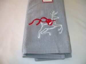 New! Embroidered Holiday Christmas Winter Snowman Terry Cotton Bath Hand Towel