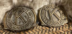 (2) Vintage Kiwanis Club International Brass BELT BUCKLES Award Medal Design