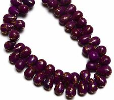 """Natural Gem Copper Turquoise 10x7MM Size Smooth Drop Shape Briolette Beads 7"""""""
