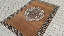 Oushak 4x6, Turkish Rug,vintage,anatolian,Brown,kilim,Bohemian,handmade,wool