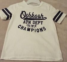 Oshkosh B'gosh Boy's Size 5 Tee Ath. Dept Champions MVP White With Blue Graphics