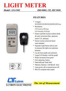 Lutron LX-1102 Light Meter Bar Graph LCD 5 Ranges