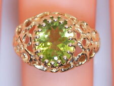 Gorgeously Detailed 10K Yellow Gold Large 3 Ct Oval Peridot Ring Size 6