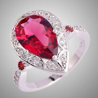 Size L N P R T V Gift Ruby Spinel & White Topaz Gemstone Silver Ring Water-Drop