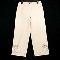 Christopher & Banks Women's Beige Palm Seashell Linen Blend Capri Pants - Size 6