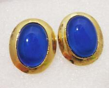 Vintage Earrings Chalcedony Blue and Ag 925 Lobes Perforated OMA19