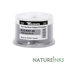 50 x Traxdata Blu-Ray 4x Bulkpack Inkjet Printable BD-R 25GB 4x Recorded Post