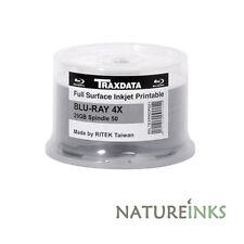 50 Traxdata Blu Ray 4x Bulkpack Inkjet Imprimible Discos en Blanco BDR BD-R 25GB 130M