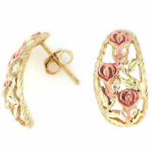 18K Gold over 925 Silver Two-Tone Rose Half-Hoop Earrings
