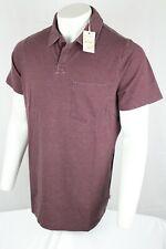 Lucky Brand Men's Venice Burnout Polo Shirt XLT Wine 7Y60010