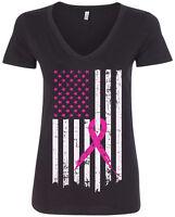 Pink Ribbon Breast Cancer Awareness Flag Women's V-Neck T-Shirt
