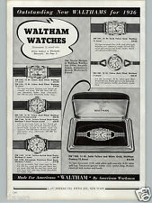 1936 PAPER AD 5 PG Waltham Wrist Watch  Rectangle Face 17 21 Jewel Gold