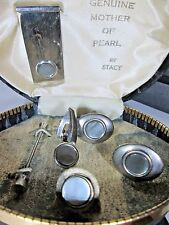Vintage Stacy Mother of Pearl Set: cuff links, $ clip, tie pin, ++ in orig case