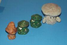 4 Mushrooms Miniature Happy Wood Mushroom & Ceramic Orange & Green Vintage