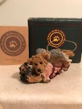 Boyds Bears & Friends Bearstone Ornament Hope, Angel Bear w Wreath 1993 #2501