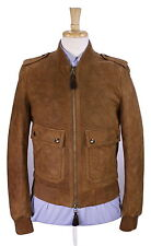 New! * BURBERRY * London 2016 Brown Suede Quilted Slim Fit Bomber Jacket Coat 38
