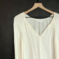 Velvet Graham and Spencer Cream Blouse S Embroidered Split V-Neck Womens New