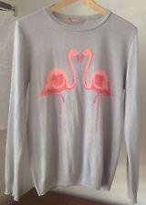 Pullover in Grau mit Flamingos