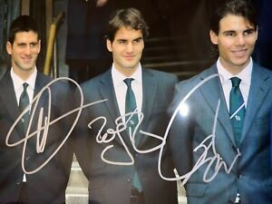 Roger Federer Novak Djokovic Rafael Nadal signed 8 x 10 3 players of all time