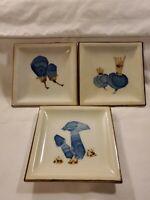 "Vintage Otagiri Stoneware 5"" Square Plates (3) Japan"
