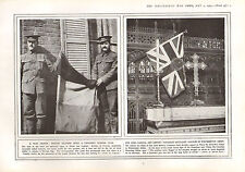 1915 WWI PRINT WAR TROPHY BRITISH SOLDIERS CAPTURED GERMAN FLAG CANADIAN COLOURS