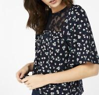MONSOON - CIARA DITSY PRINT SHIRT - Navy - Size 14 (Brand New With Tags)