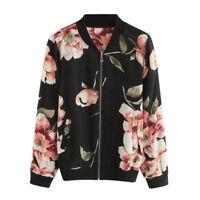 Women's Long Sleeve Floral Printed Bomber Jacket Loose Zipper Coat Outwear Coats
