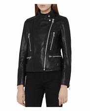 Reiss Erin Leather Biker Jacket in Black Size UK 8/US 4 BNWT £450