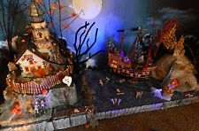 "42"" HALLOWEEN Skull Island LIGHTED Pirate Village Display platform base Dept 56"