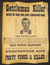 John Wesley Hardin Wanted Poster, Western, Outlaw, Old West, Texas Rangers