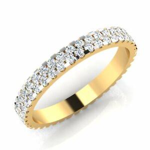 0.70 Ct Round Cubic Zirconia Eternity Wedding Band 18k Yellow Gold Women Ring