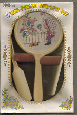 VINTAGE HOLLY HOBBIE STYLE MADE IN HONG KONG COMB BRUSH & MIRROR SET
