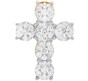 "Ladies Men's 14K Yellow Gold Genuine Diamond Cluster Cross Pendant 1 1/2 CT 1"""