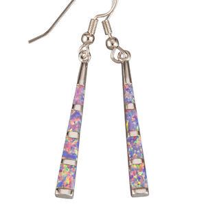 Camber Surface Stick Lavender Purple Fire Opal Silver Dangle Drop Earrings