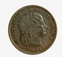 s736_58)  Haiti 2 Centimes KM# 43 1881