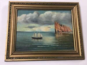Vintage Nautical Painting On Board By Capt. A.V. Seferovitch Montenegrin