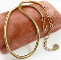 """VINTAGE SNAKE CHAIN NECKLACE GOLD TONE METAL 17"""" LONG COSTUME JEWELRY"""