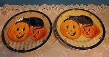 2 Pumpkin Halloween Salad Plates Pumpkin Dreams Warren Kimble Brown Gold