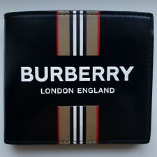 Burberry Bifold Wallet Logo Icon Stripe Print Black New 100% Authentic Leather