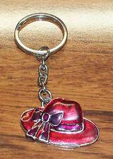 "1"" Inch Small Red Enamel Hat Society w/ Bow Metal Key Fob Ring / Key-Chain"