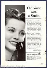 1940 BELL TELEPHONE advertisement, Female Operator photo, Damon Runyon quote