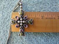 NICKY BUTLER Sterling Silver Multistone Pearls Cross Pendant and Chain
