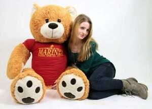 MARINES Big Plush Giant Teddy Bear 5 Feet shirt SOMEONE IN THE MARINES LOVES YOU