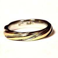 14k yellow white gold 3.5mm womens wedding band ring 3.7g estate vintage