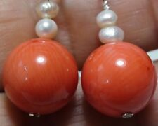 41.20ct 100% Natural Sea Salmon Pink Coral,Baby Pearl Earrings 925 S-Ing Silver.