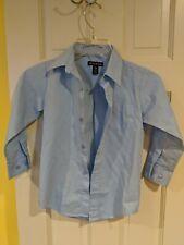 Boys George Size XS 4-5 Blue Long Sleeve Cotton Blend Button Down Dress Shirt
