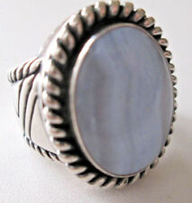 Carolyn Pollack Relios Blue Lace Agate Wide Band Ring Size 6