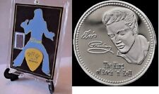 Elvis Presley  Worn Clothing Display Sun Records Guitar Pick and Silver Coin